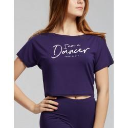 T-shirt I Am voor kinderen - kleur paars (outremer)