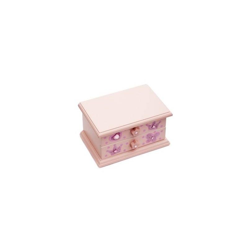 Prachtig roze houten muziek-/juwelendoosje